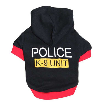Cool Fashion! Cute Pet Vests Puppy Dog Clothes Coat  Police Dog Hoddies Dress Size XS S M L Available.Free Shipping