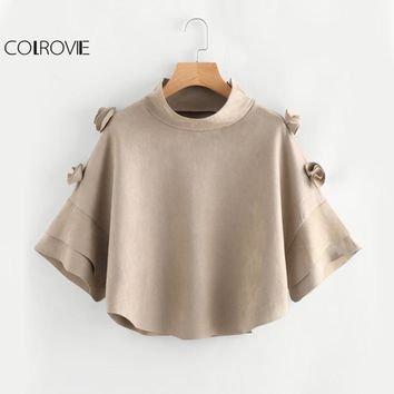 COLROVIE Khaki Sweet Suede Cape Coat Winter Coat Women 3D Flower Embellished Tiered Cuff Coats 2017 Cute Ladies Funnel Neck Coat