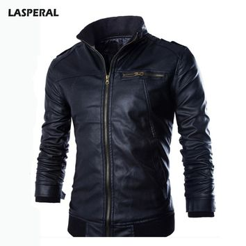 LASPERAL 2017 Winter Warm PU Leather Jackets Men Stand Collar Bomber Jackets Male Windproof Coats Men's Clothing Plus Size 3XL