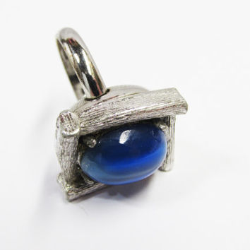 Vintage Whiting and Davis Blue Stone Ring | Adjustable Band Textured Metal Ring