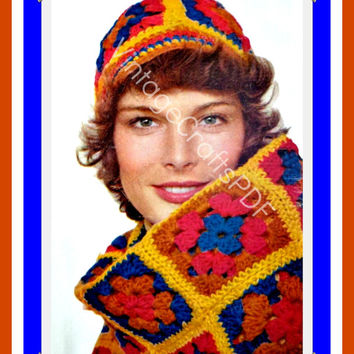 1970s Granny Square Cap and Scarf Set-Vintage Crochet Pattern–Bohemian Clothing-Hippie Hat-Beanie-EASY Crochet Pattern-Vintage Crafts PDF