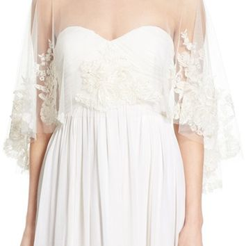 Jenny Yoo 'Ophelia' Embroidered Tulle Capelet | Nordstrom