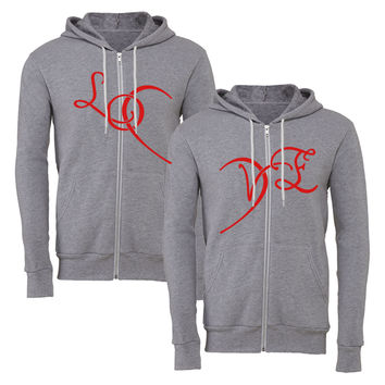 love heart 2 matching couple zipper hoodie
