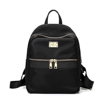Fashion small waterproof nylon backpack fashion black shoulder bag Prepyp style backpack for teenage girl solid color zipper