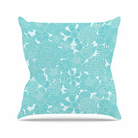 "Julia Grifol ""Turquoise Birds"" Aqua Blue Throw Pillow"