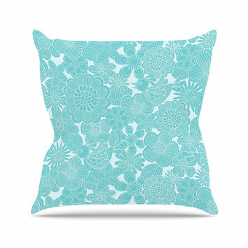"Julia Grifol ""Turquoise Birds"" Aqua Blue Outdoor Throw Pillow"