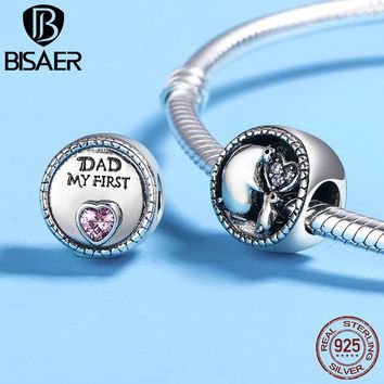 Authentic 925 Sterling Silver Bear DAD Mother & Kids Beads Fit Original Pan Charms Bracelets Sterling Silver Jewelry Gift