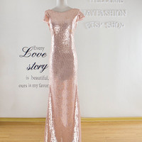Gold Sequined Prom Dress 2016,Long Formal Dress,Gold Bridesmaid Sequin Dress,Womens Evening Dress,Sequin Wedding Party Dress,Cheap Dresses