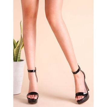 Black Patent Leather Ankle Strap Stiletto Heel Sandals