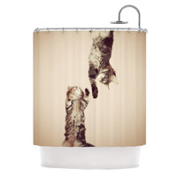 "Monika Strigel ""Upside Down"" Brown Cats Shower Curtain"