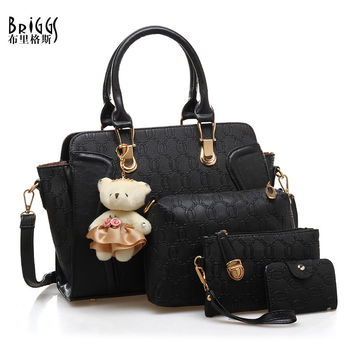 BRIGGS Famous Brand Women Hobos Bag 2016 Fashion Women Shoulder Messenger Bags Handbags PU Leather Female Tote Bag 4 Piece Set