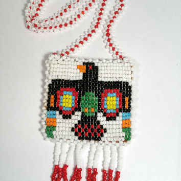 Thunderbird Medicine Bag Beaded Leather Medicine Pouch Necklace Native American Indian Style Necklace Southwest Tribal