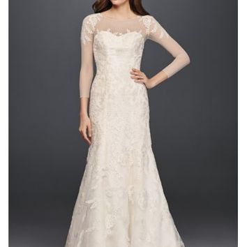 Oleg Cassini Lace Wedding Dress with 3/4 Sleeves - Davids Bridal