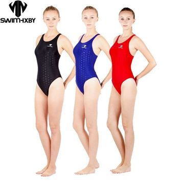 HXBY one piece black triangle competition training swimsuit waterproof chlorine resistant women's swimwear bathing suit