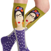 ModCloth Nifty Nerd Frida Be Me Socks in Green and Purple