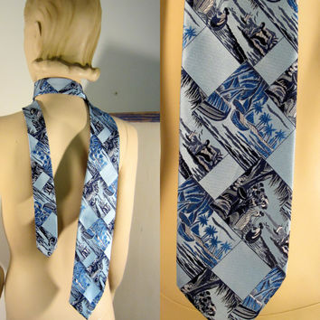 Blue Hawaii Tie 50s/60s Fab Island Print Mens Necktie Guy Wedding Formal Accessories - FREE SHIPPING