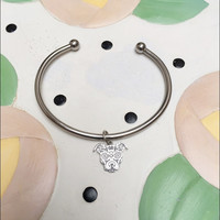 Sugar Skull Pit Bull Charm on an Open Steel Bracelet