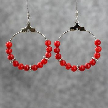 Red coral hoop earrings Bridesmaid gifts Free US Shipping handmade Anni designs