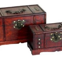 Amazon.com: Antique Wooden Trunk, Old Treasure Chest (Set of 2): Home & Kitchen