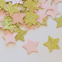 twinkle little star confetti, pink and gold, princess party decorations, glitter stars, baby shower, 1st birthday, bridal, wedding, 100 pcs