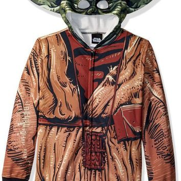 Star Wars Big Boys' Yoda Sublimated Fleece Zip Costume Hoodie