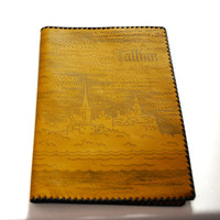 Vintage Genuine Leather Book Cover With Picture Of Medieval Tallinn Old Town
