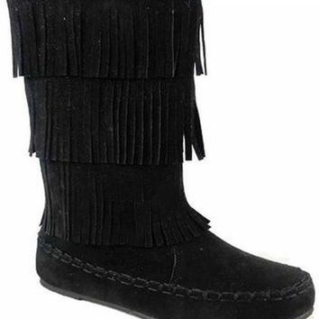 Girls Tall Fringe Boots-Black