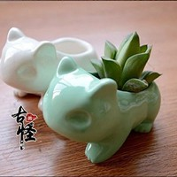 Anime Japanese Pikachu Pokemon Bulbasaur Nintendo Game Home Decorative Ceramic Art Vase Green