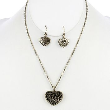 Gold Filigree Heart Metal Curb Chain Necklace And Earring Set