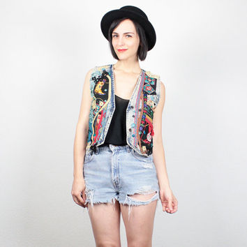 Vintage Acid Wash Denim Vest Southwestern Upcycled Blue Jean Vest Crochet Lace Embroidered Western Crop Jacket New Wave S Small M Medium