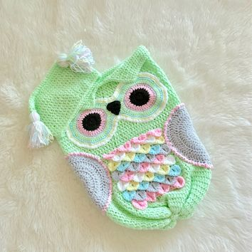 Baby Owl Cocoon And Cap For Newborn - Crocodile Stitch Owl Cocoon - Baby Owl Hat And Cocoon - Crochet Owl Hat And Cocoon - Newborn Swaddle