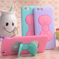Cute Butterfly Bow Stand Holder Phone Case For iPhone 6 6S Slim Silicon Rubber Back Cover