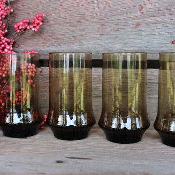 7 vintage Libbey Tawny Impromptu brown glass tall tumblers glasses RETRO 1980s ice tea glasses, barware, bar cart glasses, replacement glass