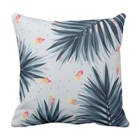 Unique Delicate Tropical Leaves Pattern Throw Pillow