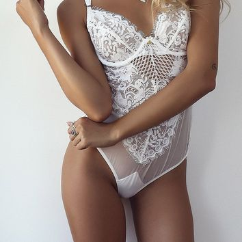 Lace and Mesh Teddy Lingerie