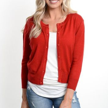 Cropped Red 3/4 Sleeve Cardigan