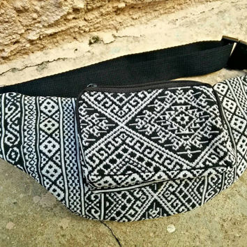 Festival Fanny pack Tribal Ikat Ethnic Style Fabric belt belly Pouch Travel bag Multicolor Hippie Hipster cycling hiking Bohem black white
