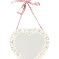 Lace Heart Hanging Mirror | White | Monsoon
