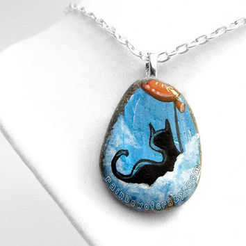 Black Cat Pendant, Red Balloon Necklace, Cloud Jewelry, Pet Painting, Hand Painted Rock, Cat Lover Gift, Cat Silhouette, Blue Sky