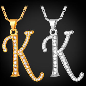 Initial K Letter Pendants & Necklaces WomenMen Personalized Gift  Alphabet Jewelry Gold Plated Necklace P1681