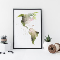 Map watercolor art print, america map, canada map, latin america map, office decor, home wall decor, apartment wall art, painting,map poster