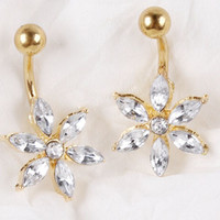 CZ Flower Belly Ring - Gold