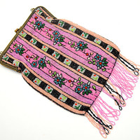Spectacular Antique Beaded Purse, Pink Latticework Beaded Bag with Metal Frame and Chain Strap, Made in Belgium, 1910s