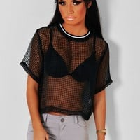 Bossa Black Sheer Grid Mesh Top | Pink Boutique