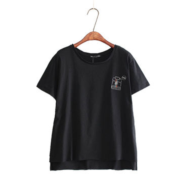 women cute camera embroidery T shirt letters short sleeve black & white o neck tees summer fashion basic casual tops DT534