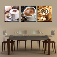 Unframed 3 Panel Food And Cup Of Coffee Tea Modern Canvas Print Painting Wall Art Picture For Kitchen Room Decoration Artwork