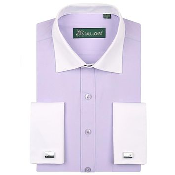 Men's Tuxedo Dress Shirts Patchwork Contrast Color Design Formal Shirt for Wedding Party with Beautiful