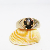 Vintage Ring: 10k Gold with Black Star Sapphire, Love Story Ring