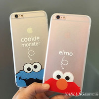 Coque for iPhone 6 6S Plus 5S 5 Phone Cases Cartoon Elmo Mascot & Cookie Monster Hard Silk TPU Cover Caso