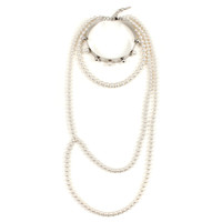 Dot And Dash Neck Cuff W/ Pearls, Spheres, Long - Rhodium / Cream